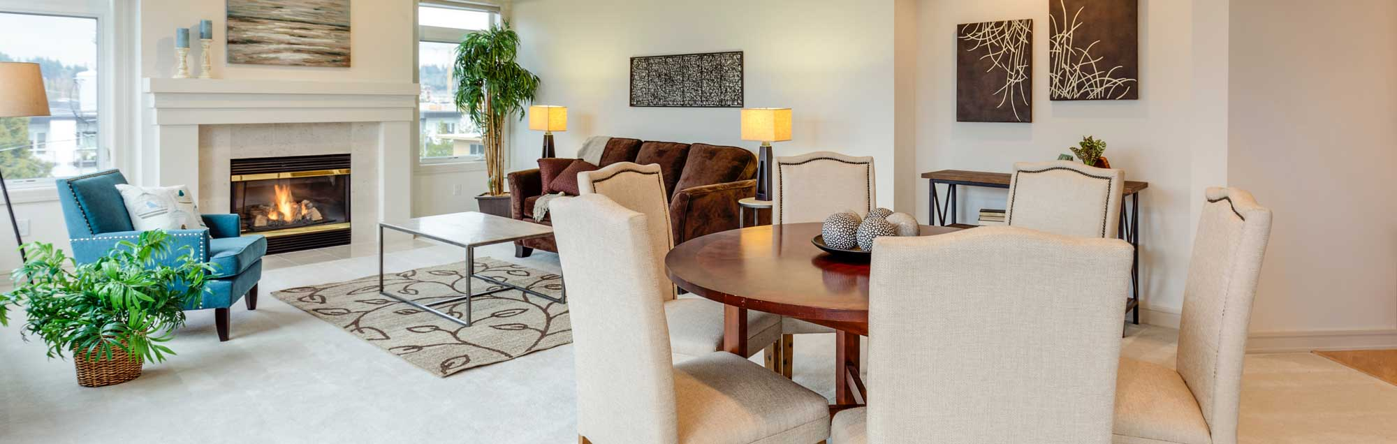 Living Dining Area Fireplace Sofa Windows Clean Carpet